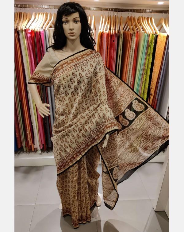 Block printed beige chanderi silk saree