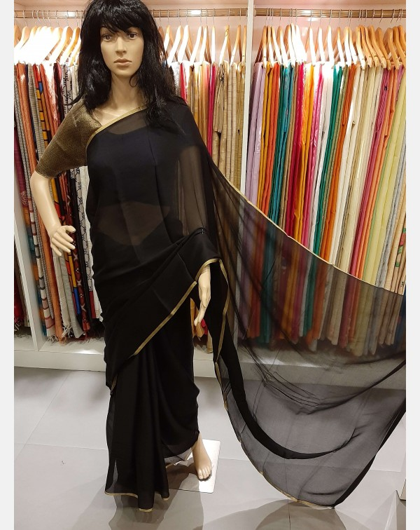 Black crushed crape saree