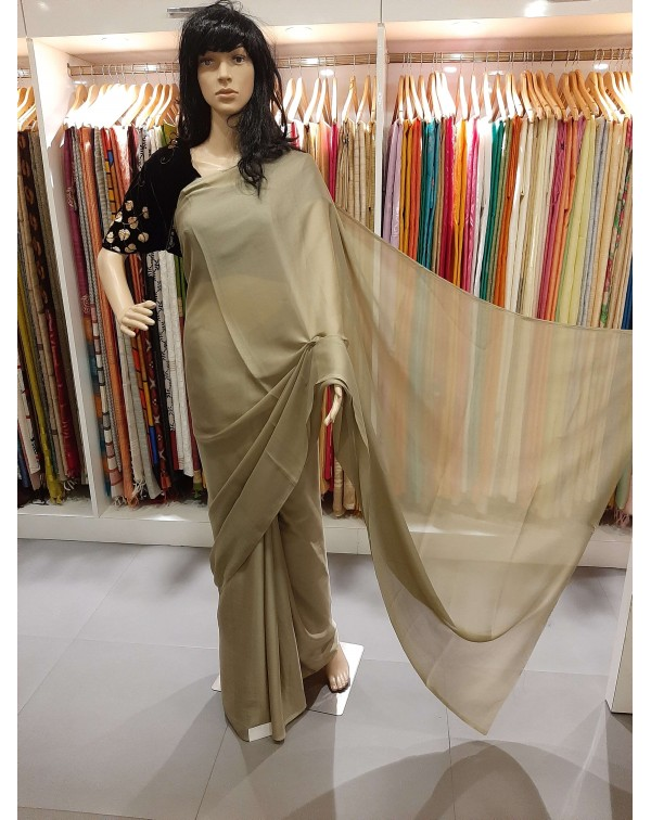 Chiffon saree with handworked blouse