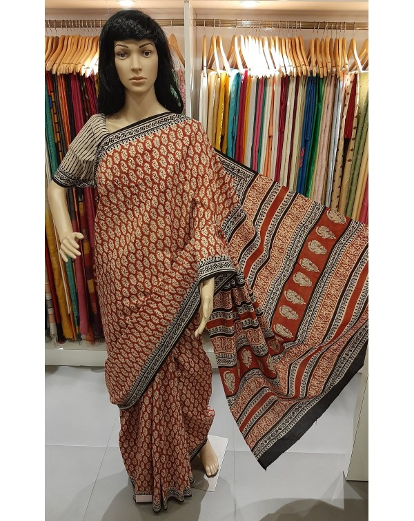 Block print cotton saree.