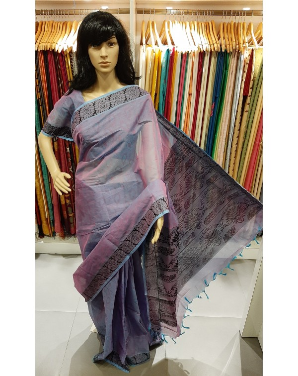 Cotton saree lavender and pink double shade