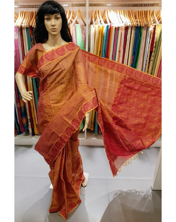 Cotton saree - red and mustard double shade