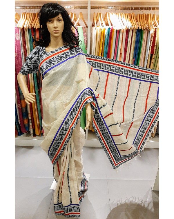 Off white cotton saree with jerry stripes