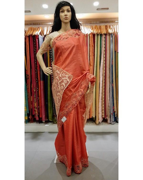 Full border twine cutwork on tussar silk saree S57...