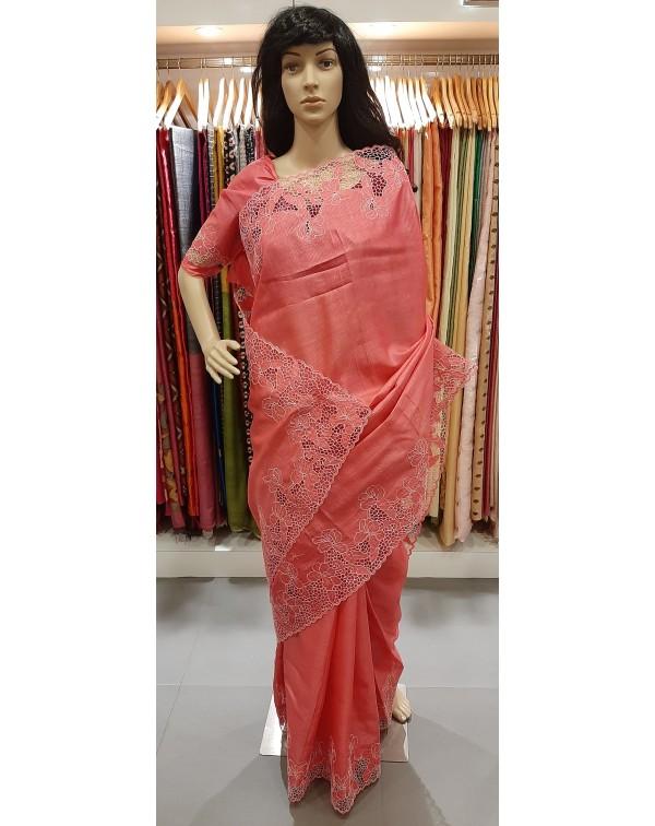 Full border twine cutwork on tussar silk saree S70...