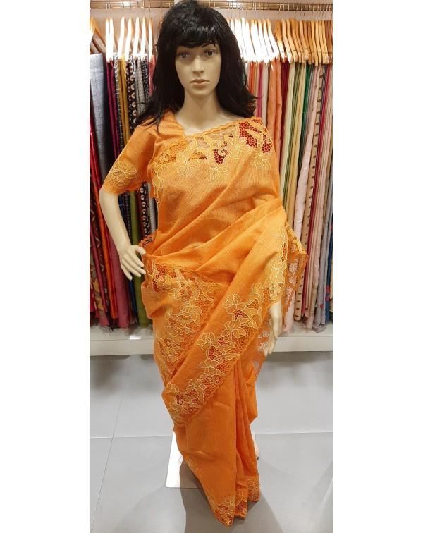 Full border cutwork on handloom tussar silk saree
