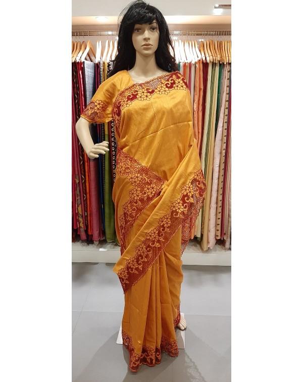 Full border twine cutwork on raw silk saree