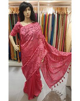 Embroidery cutwork saree semi silk.