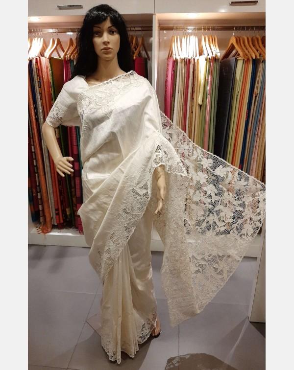 Pearl white raw silk twine cutwork bridal saree