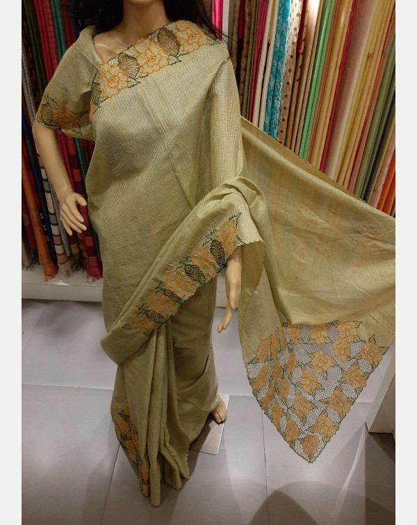 Twine cutwork on handloom tussar silk saree