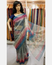Block printed kota saree (without blouse)
