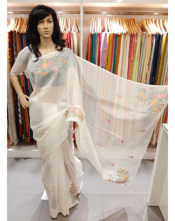 Shadow work on off white kota saree.