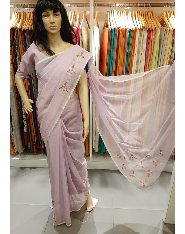 Embroidery work on kota saree.
