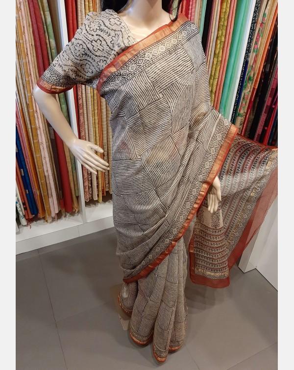 Block printed Kota saree.