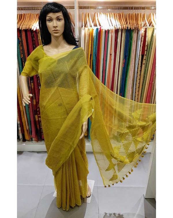 Thread work on Orgenza saree