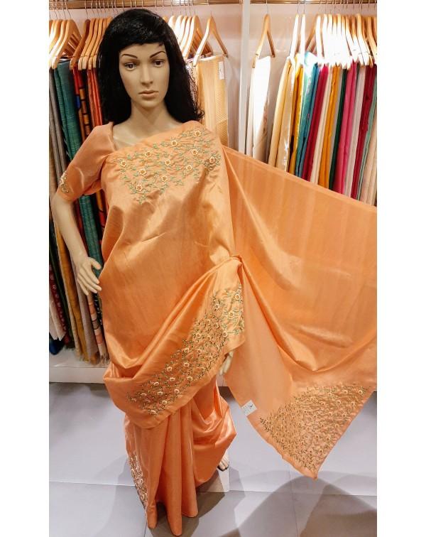 Handworked semi silk saree.