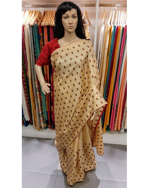 Embroidery work on semi silk saree