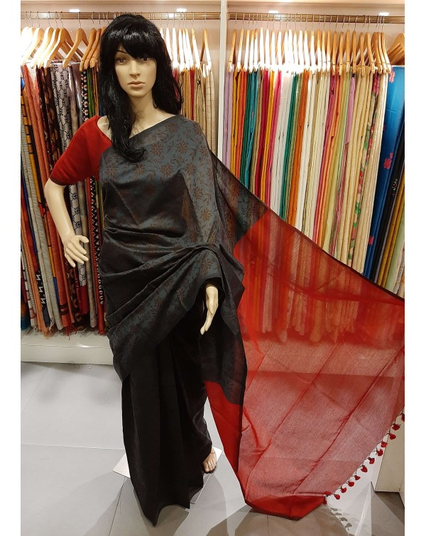 Block print on semi silk saree