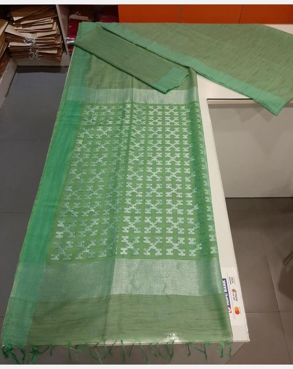 Light green semi linen silk saree