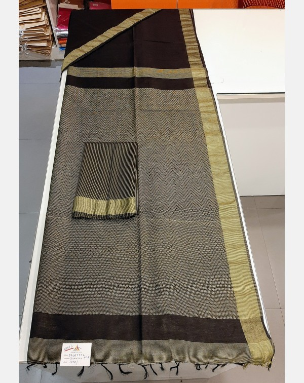 Black summer silk saree.