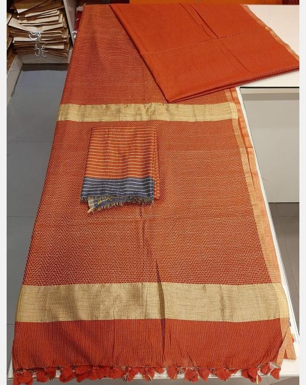 Brick red semi silk saree