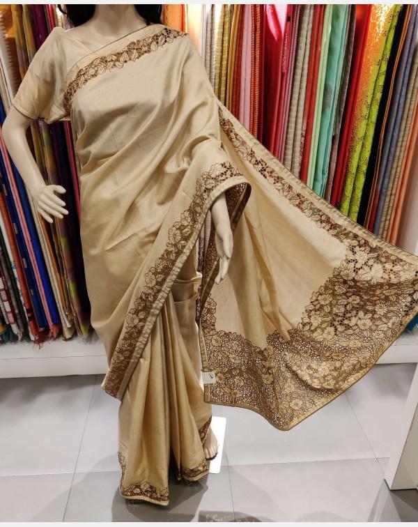 Full border Embroidery cutwork on beige semi silk ...