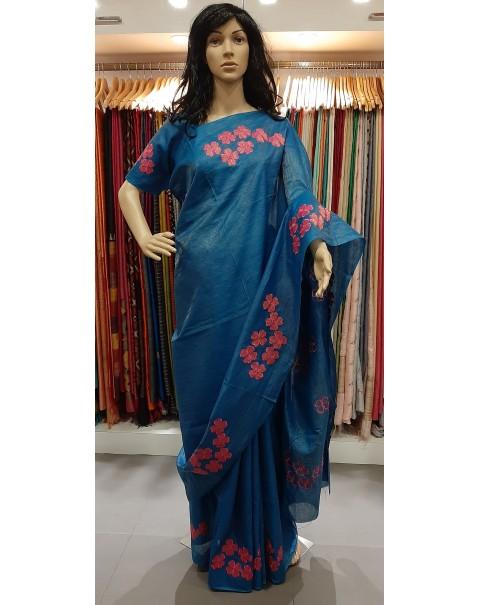 Applique work on tussar silk saree