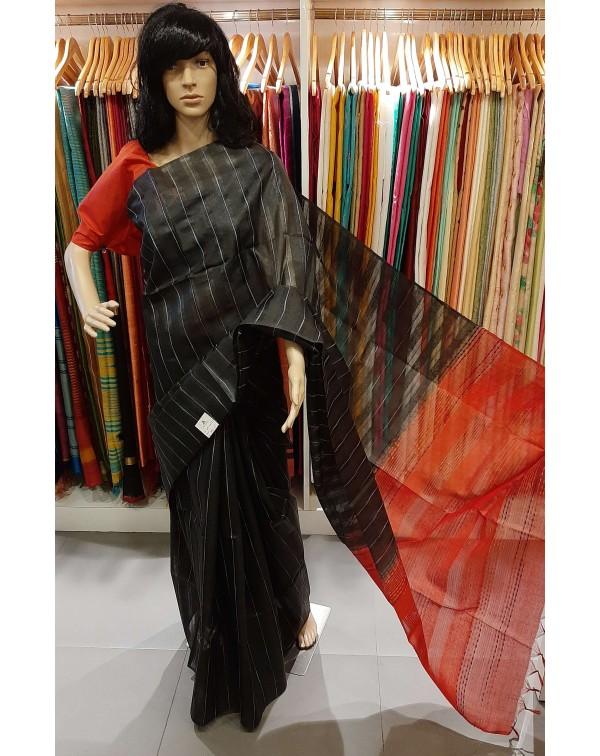 Tussar silk saree with grey stripes