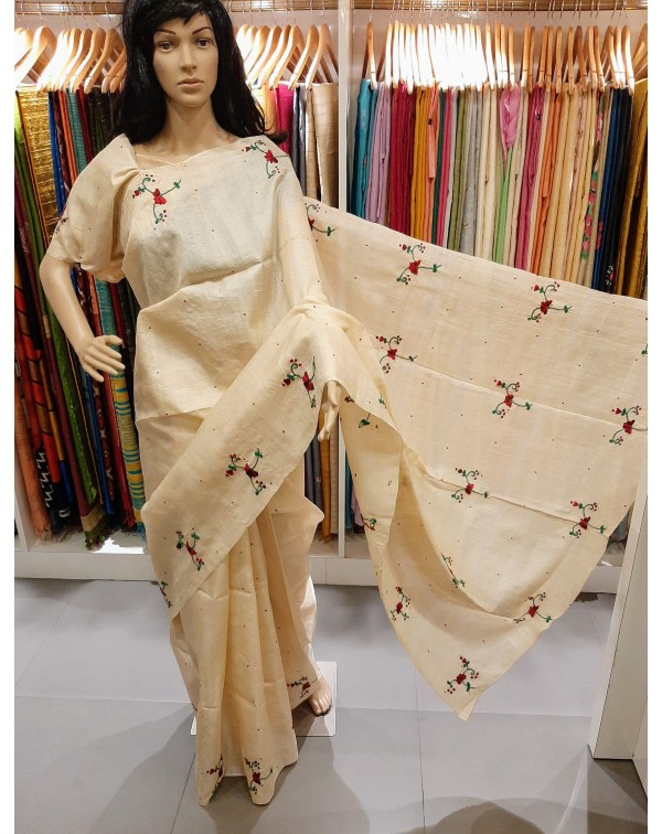 Hand worked handloom tussar silk saree.