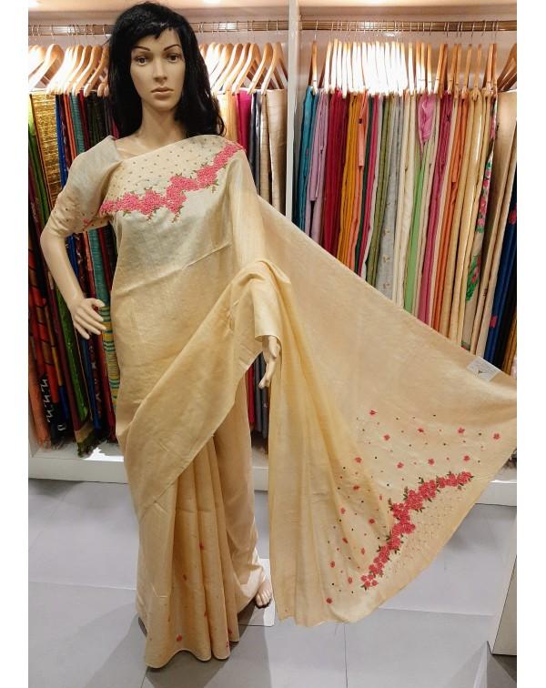 Hand worked tussar silk saree