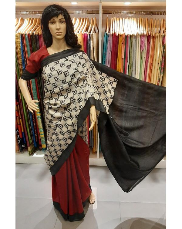Block printed tussar silk saree