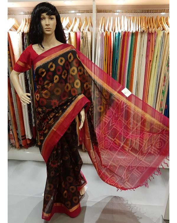 ikat design on silk saree
