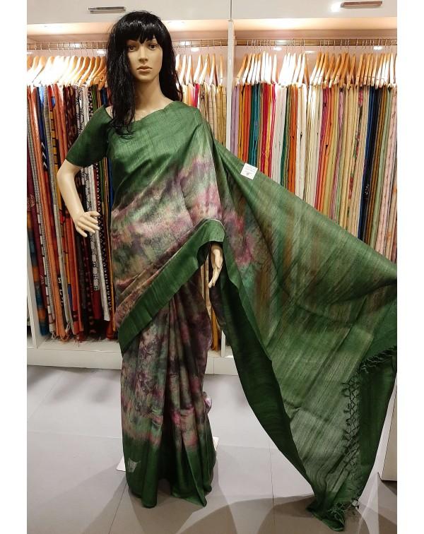 Tie and dye design on desi tussar silk saree