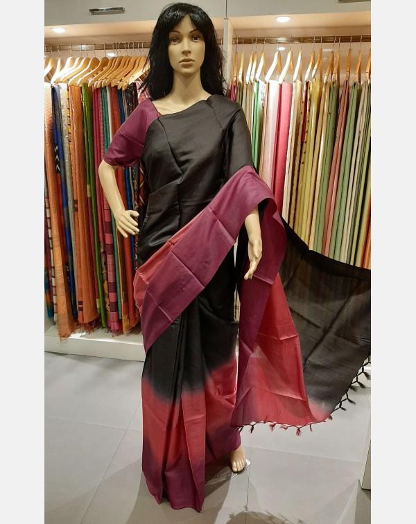 Black, Pink and Purple 3d tussar silk saree
