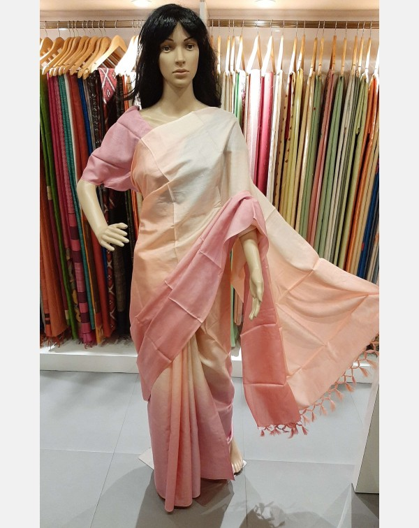 4D tussar silk saree with 4 shades of peach