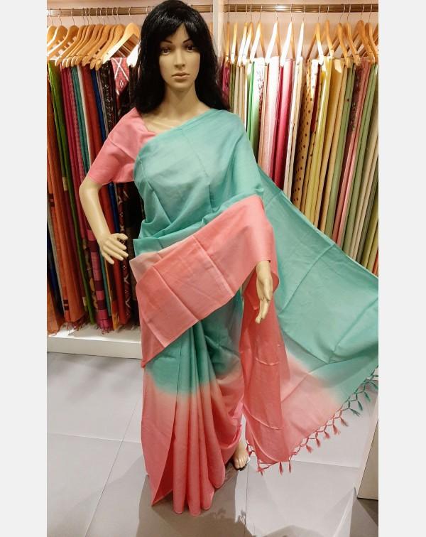 Peach & Sea green 2d tussar silk saree