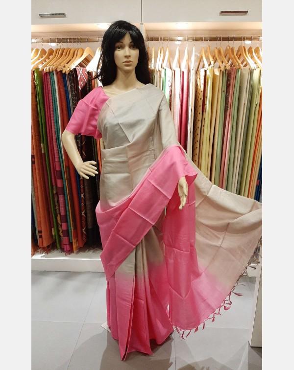 Pink and light grey 2d saree