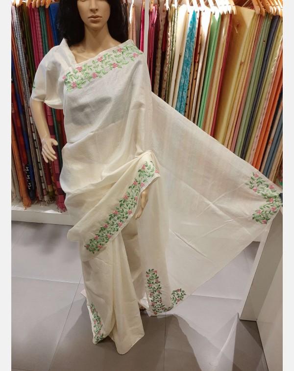 Handworked offwhite handloom tussar silk saree