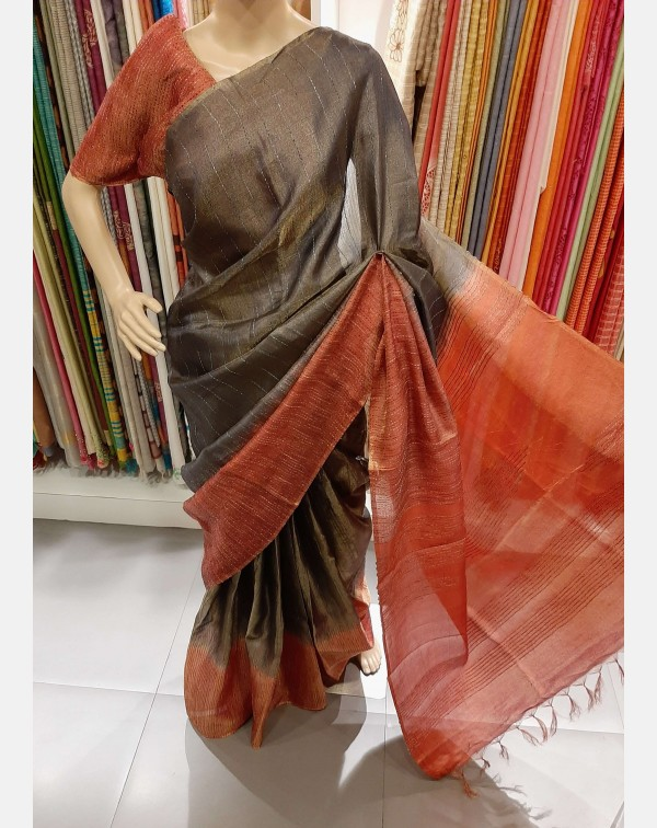 Dark grey & brick red tussar saree with tissue...
