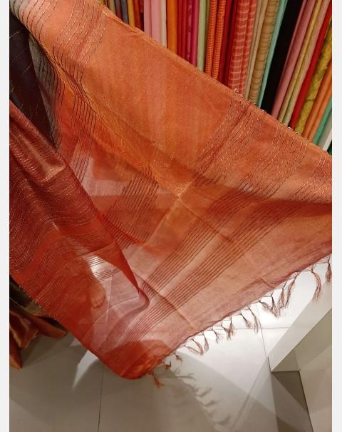 Dark grey & brick red tussar saree with tissue weaving