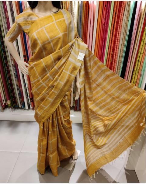 Golden yellow tussar silk saree