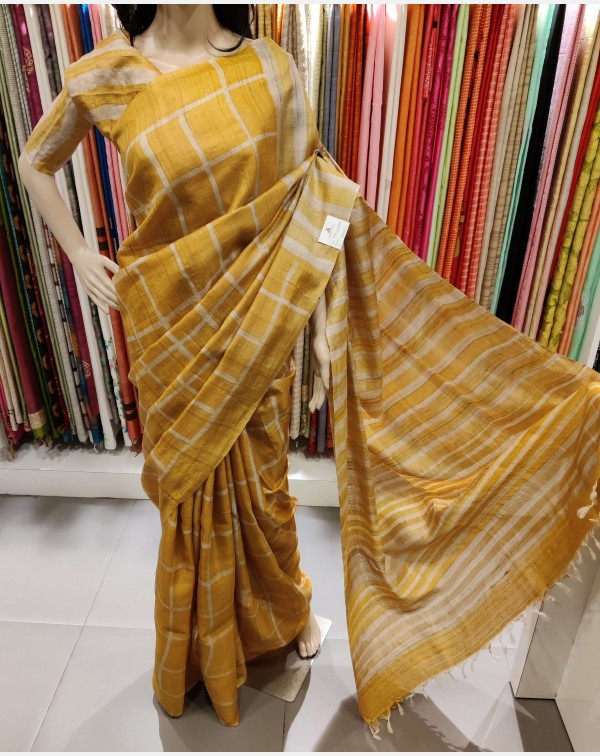 Golden yellow tussar silk saree
