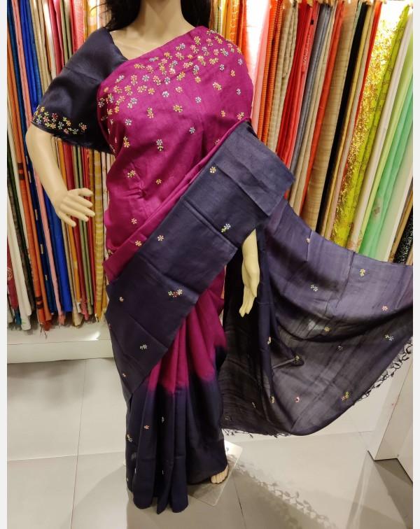 Handworked double shades Desi Tussar silk saree