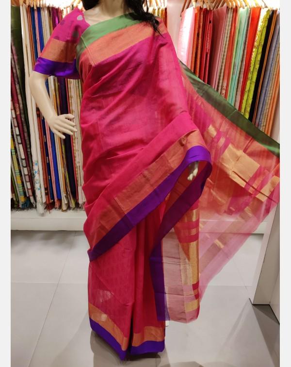 Light magenta double border silk saree.
