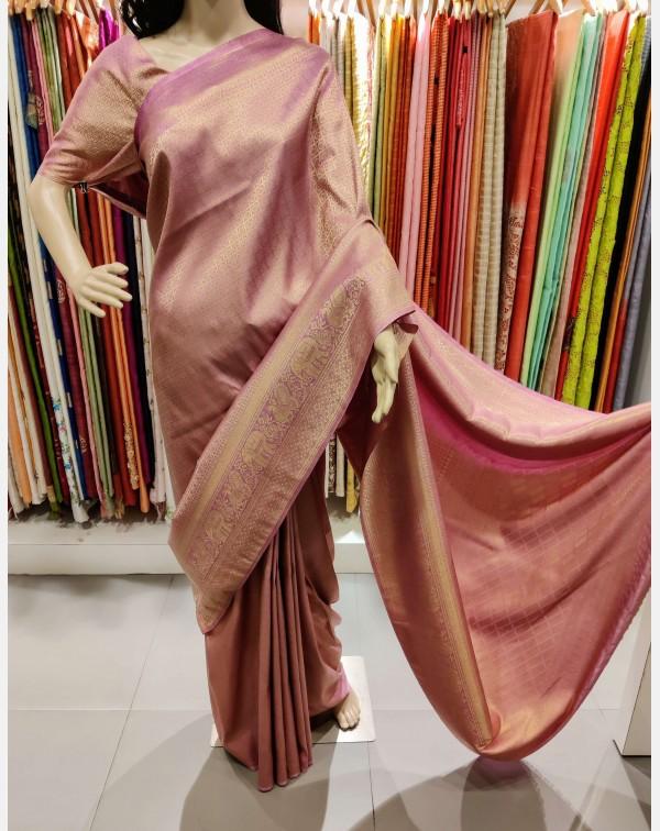Dusty Pink Brocade Silk Saree