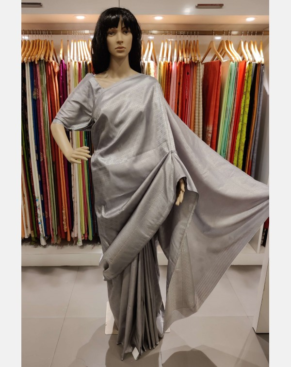 Grey with silver weaving Brocade silk saree.