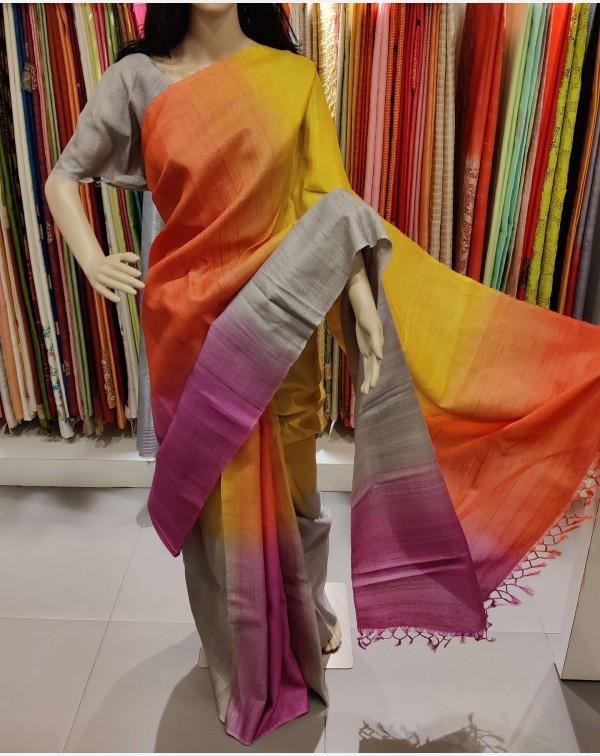 Multi shade Tussar silk saree.