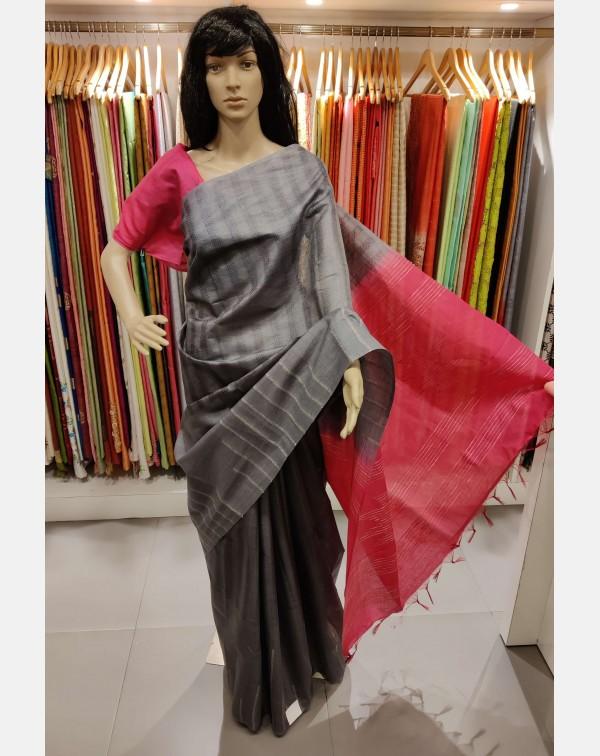 Dark grey Tussar silk saree
