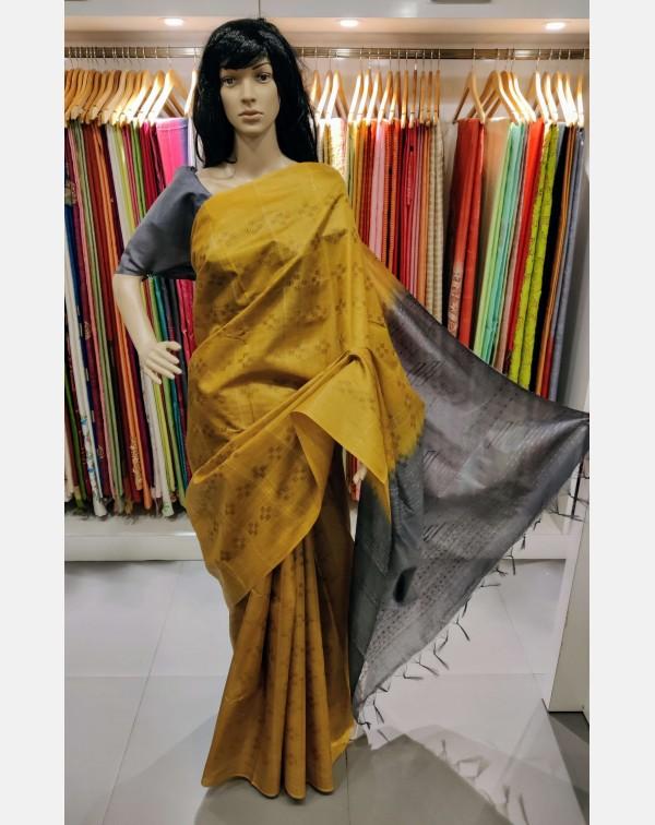 Mustard and grey Tussar silk saree.