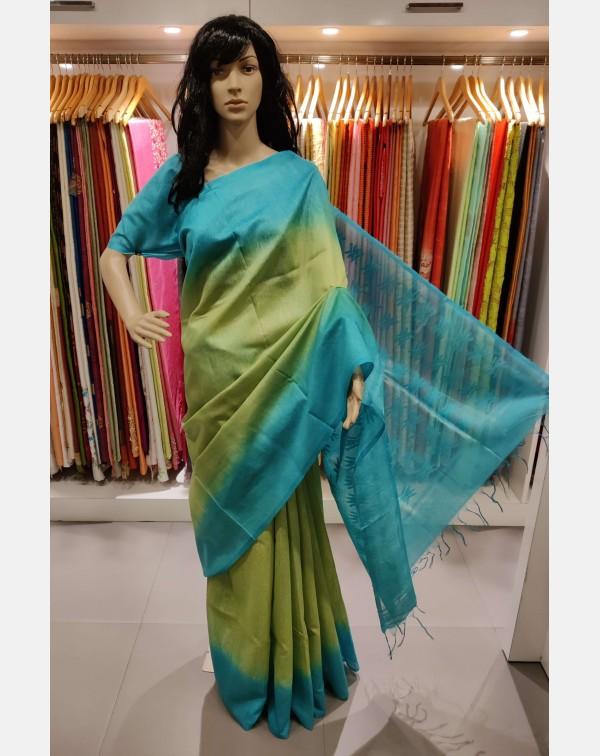 Green & blue double shade Tussar silk saree
